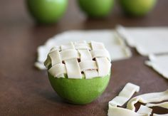 Apple pie filling is poured into a hollowed apples and topped with an easy lattice pie crust. So easy and impressive!