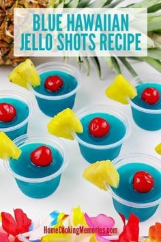 Blue Hawaiian Jello Shots Recipe A boozy, summery jello shot recipes for adults! This Blue Hawaiian Jello Shots Recipe gives you colorful blue jello shots, made with Blue Curaçao liquor, Malibu Rum and lots of tropical flavor! Perfect for Malibu Rum, Malibu Jello Shots, Summer Jello Shots, Strawberry Margarita Jello Shots, Best Jello Shots, Jello Pudding Shots, Luau Jello Shots, Tequila Jello Shots, Birthday Jello Shots