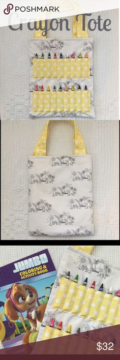 """Grey Elephant Full Size Tote! NWT! Grey elephant full size tote with yellow and white polka dot accents. NWT! Size is approx 10"""" x 12"""". Includes coloring book and crayons! Smoke free home. Accessories Bags"""