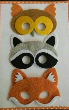 Ideas for masks made of felt Felt Diy, Felt Crafts, Diy And Crafts, Arts And Crafts, Diy For Kids, Crafts For Kids, Felt Finger Puppets, Animal Masks, Felt Patterns