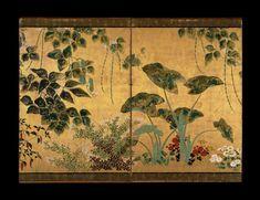 絵画、6パネル画面のペア。 四季の花や植物。 インク、色や紙の上に金箔。