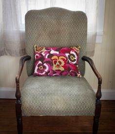 Spruce up any chair with this awesome hand embroidered cushion cover from Kashmir. Embroidered with pure wool by artisans in Srinagar India. Measures 12 x Floral Cushions, Embroidered Cushions, Floral Embroidery, Hand Embroidery, Srinagar, Wingback Chair, Cushion Covers, Accent Chairs, Artisan