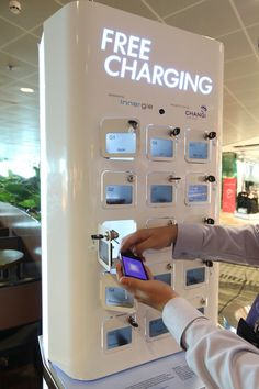 Mobile phone charging station at Singapore's Changi Airport
