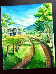 Old house watercolor painting dirt driveway by colorfuldragon