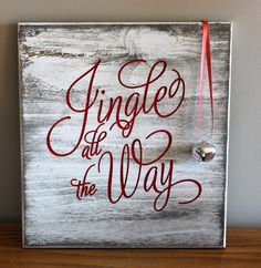 Jingle all the way engraved wood sign with bell for Christmas decoration