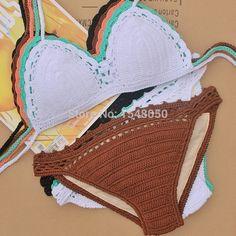 Aliexpress.com: Compre Embalagem de presente mulheres crochet biquini set, Feito de crochê hippie maiô maiô de confiança chapéu terno fornecedores em CROCHET STORE