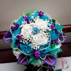 Bridal cascading silk flower wedding bouquet in purple, aqua teal and turquoise. I wouldn't use it as a bouquet, but it's a beautiful, vibrant and unique arrangement. Turquoise Wedding Bouquets, Purple Wedding Flowers, Bridal Flowers, Flower Bouquet Wedding, Wedding Colors, Turquoise Weddings, Teal Bouquet, Turquoise Bouquet, Flower Bouquets