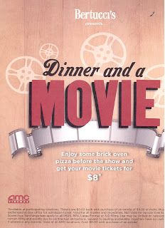 Affordable date night, girls night out or family fun idea alert! Participating Bertucci's (including our local Springfield PA restaurant) have a great deal for dinner and a movie.  Purchase tickets for any AMC theater at a great price!
