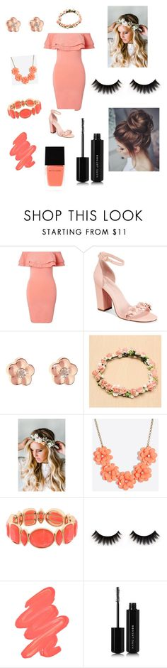 """First date look"" by cheeralf ❤ liked on Polyvore featuring Miss Selfridge, Avec Les Filles, Emily Rose Flower Crowns, J.Crew, Monet, Obsessive Compulsive Cosmetics, Marc Jacobs and Witchery"