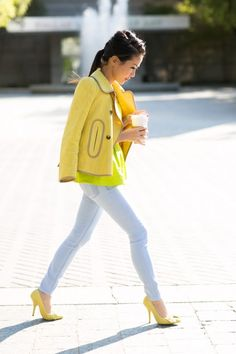 Wendy's take on spring denim: Canary neon and light washed J BRAND 811 Skinnies.