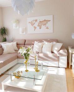 27 Wonderful Blueprints For Rose Gold Room Decor, Rose Gold Rooms, Pink Home Decor, Table Decor Living Room, Home Living Room, Bedroom Decor, Home Room Design, Living Room Designs, Living Room Inspiration