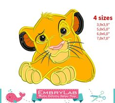 Applique Simba. The Lion King. Machine Embroidery Applique Design. Instant Digital Download (16308) by EmbryLab on Etsy