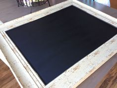 DIY: How to turn a mirror into a chalkboard. Browsing through the Pottery Barn website, I've been lusting after the chalkboards for the kids to practice their writing and numbers, drawing and spending hours just creating together in front of . Decorating Your Home, Diy Home Decor, Decorating Ideas, Craft Ideas, Toy Room Storage, Framed Chalkboard, Paint Furniture, Repurposed Furniture, Diy Projects To Try