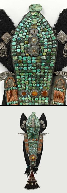 India - Jammu and Kashmir State, Ladakh | Detail from a traditional Ladakh Buddhist woman's headdress; felt, wool, cotton fabric, turquoise, amber, carnelian stones, silver, coral, silk thread and Astrakhan fur | ca. 20th century // ©Quai Branly Museum. 70.2008.66.1