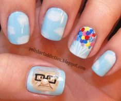 Disney Fashion Alert: 25 Awesome Disney Movie Nail Art Ideas (Oh my gosh! I want to do this once I quit biting my nails! Love Nails, How To Do Nails, Pretty Nails, Disney Nail Designs, Cute Nail Designs, Pedicure, Finger, Art Disney, Disney Pixar