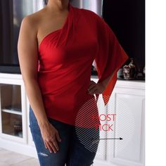 ✨HP 3/16✨Tahari One Shoulder Red & Orange Silk Top Elie Tahari Silk one shouldered blouse. Super flattering on. Worn once and cleaned, but small stain at bottom. Red on front. Orange on back. True to size. M. Tahari Tops Blouses