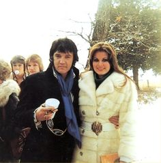 Elvis and Ginger in Harrison, Arkansas at the funeral of Ginger's grandfather on January 3, 1977