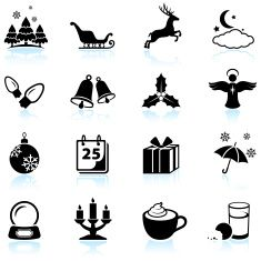 Winter Holiday black and white royalty free vector icon set. vector art illustration