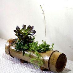 Vintage Japonés Bamboo Florero calcomanías de la casa de té de madera natural
