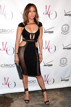 Jennifer Lopez in a sheer cutout dress by Bao Tranchi. Jennifer Lopez Cumpleaños, Jennifer Lopez Birthday, Celebrity Outfits, Celebrity Style, Celebrity Pics, Cutout Dress, Birthday Dresses, Hollywood Celebrities, The Dress