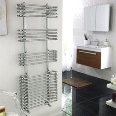 Ultra Sway Heated Towel Rail 1200 x - Chrome - at Victorian Plumbing UK Towel Radiator, Radiator Valves, Bathroom Radiators, New Bathroom Ideas, Towel Warmer, Heated Towel Rail, Amazing Bathrooms, Traditional Design, Polished Chrome
