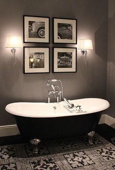 Love the ambiance due to the two tone cast iron tub and lighting