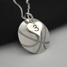 Hand-Stamped Basketball Necklace with Heart Charm stamped with Number Fila Basketball Shoes, Basketball Girlfriend, Basketball Necklace, Basketball Is Life, Basketball Gifts, Basketball Drills, Basketball Pictures, Sports Basketball, Basketball Cookies