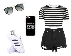 """lis."" by yesgodoi ❤ liked on Polyvore featuring Boohoo, Topshop, adidas, Ray-Ban and Casetify"