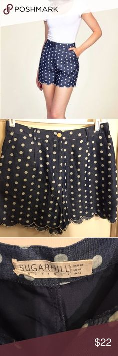 "CUTE Polka Dot SUGARHILL Boutique Size US 10 CUTE Polka Dot SUGARHILL Boutique Lined Shorts Size US 10. Good Condition. No rips or tears. Size may run slightly smaller due to lining. Material: 55% Cotton & 44% Polyester with 100% Polyester lining. Measurements: WAIST 32""x length 16""x inseam 2"" x up-seam 16"". Smoke and pet free environment. Please review photos carefully before purchasing and message me with any additional questions. No returns. Sugarhill Boutique  Shorts"