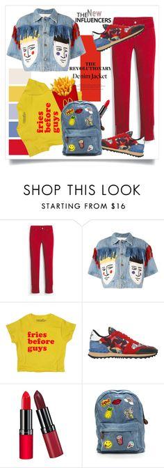 """The revolutionary denim jacket..."" by fashionlibra84 ❤ liked on Polyvore featuring White House Black Market, JC de Castelbajac, Valentino, Rimmel, denim, colorful, jacket and seasontrend"