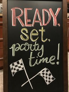 Ready, Set, Party time chalkboard for my sons birthday. 2nd Birthday Party For Boys, Hot Wheels Birthday, Second Birthday Ideas, Kids Birthday Themes, Race Car Birthday, Race Car Party, Cars Birthday Parties, Halloween Birthday, Vintage Jeep