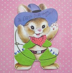 Vintage Flocked Cowboy Bunny Easter Greeting Card 1951 Rustic Craft