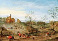 Jacob Grimmer (Dutch, 1525-6-1590) Early view of house without formal garden walks or walls or fences or parterres. Here the fields falling fro the house are used for producing food.