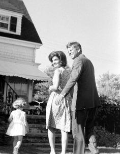 Caroline, Jackie and Jack Kennedy
