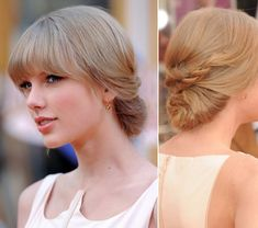 28 ideas hairstyles with bangs prom taylor swift - Lange Haare Ideen Easy Updo Hairstyles, Prom Hairstyles For Long Hair, Short Hair Updo, Hairstyles With Bangs, Pretty Hairstyles, Hairdos, Hairstyle Ideas, Bob Hairstyle, Taylor Swift Updo