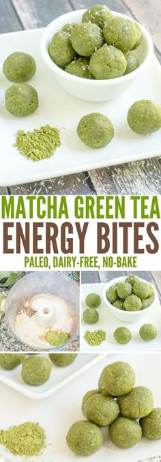In just 5 minutes, you can whip up a batch of these delicious Matcha Green Tea Energy Bites. This recipe is a perfect healthy pick-me-up for any time of the day. (Gluten-free, dairy-free, grain-free, and Paleo-friendly) (health snacks for weightloss) Weight Watcher Desserts, Healthy Sweets, Healthy Drinks, Healthy Eating, Healthy Food, Healthy Gluten Free Snacks, Simple Healthy Recipes, Vegan Snacks On The Go, Healthy Munchies