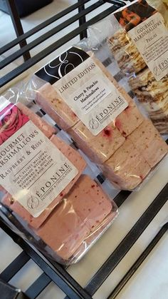 Marshmallows ahoy! Raspberry & Rose, Cherry & Pistachio, and Praline & Dark Chocolate -- three flavours of marshmallows available this weekend at Frodsham Independent Market and Wallasey Food Fair. (Photograph taken by Frodsham Independent Market) (05-06/09/15 - Eponine Patisserie & Chocolaterie)