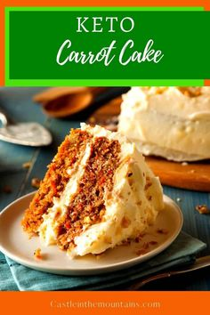 Sumptuous Keto Carrot Cake ~ 4 Net Carbs Including the Frosting. This amazing layered cake is a satisfying dessert without all of the carbs. The flavor is spot on and is an excellent alternative to the sugar laden comfort cake that I loved pre-low-carb-living. #easyketo #ketocarrotcake Coconut Flour, Almond Flour, Cake Recipes, Dessert Recipes, Desserts, Beach Dessert, Delicious Deserts, Gordon Ramsay, Jamie Oliver