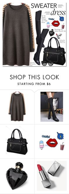 """""""Sweater Dress"""" by oshint ❤ liked on Polyvore featuring Lipsy, Burberry and Le Specs"""