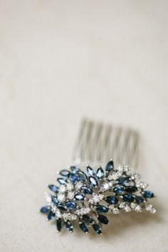 Sparkly Blue Hair Accessory #wedding #personalized #sterling explore thesterlinghut.com