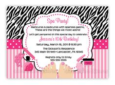 Spa Invitations For Birthday Party