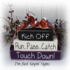 Football Itty Bitty Wood Blocks Sign by ImJustSayinSigns on Etsy