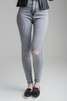 Ladies Ripped Knee Sexy Skinny Jeans Womens High Waisted Jegging 6 8 10 12 14 16