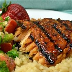 Hoisin-Glazed Salmon Allrecipes.com  I doubled the chili garlic sauce, the ginger root and the pressed garlic when I made it!  This one is a keeper and my family is already requesting it!