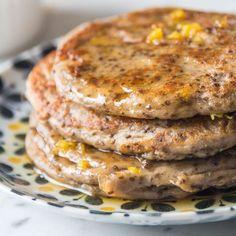 Lemon Cardamom Pancakes with a Zesty Honey Drizzle