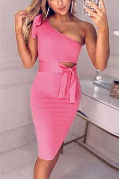 361fcee4b90 Knot One Shoulder Party Dress