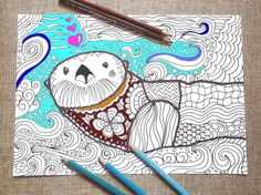 Coloring Pages Totem Animals : Bookshelf adult coloring page kids library book readers book