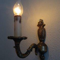 Bronzen wandlamp met snoer en klikschakelaar
