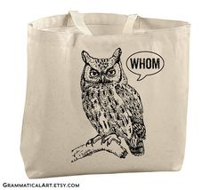 Awesome Grammatical Art book tote on Etsy