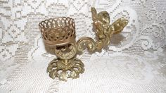 BRASS ORMOLU FANCY VANITY CUP HOLDER ANGEL DESIGN GLO-MAR ARTWORKS
